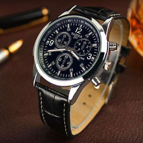 Men Watch Luxury Brand Watches Quartz Clock Brown Black