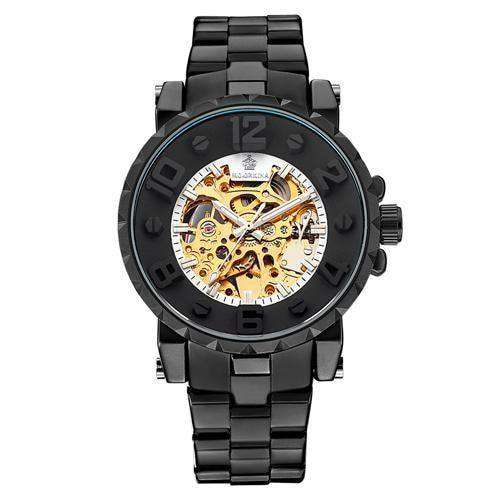 Men Wristwatch Golden Skeleton Clock Mechanical Silver Black White