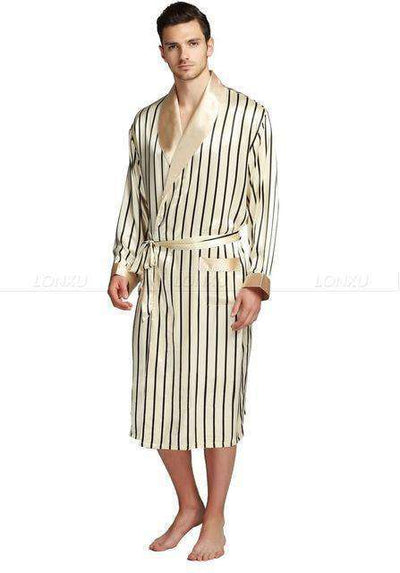 Mens Silk Satin Pajamas Beige / Xxl Robes