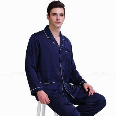 Mens Silk Satin Pajamas Navy Blue / Xxl Pajama