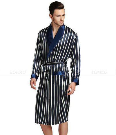 Mens Silk Satin Pajamas Navy Blue / Xxl Robes
