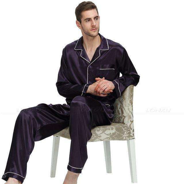Mens Silk Satin Pajamas Sets Pajama