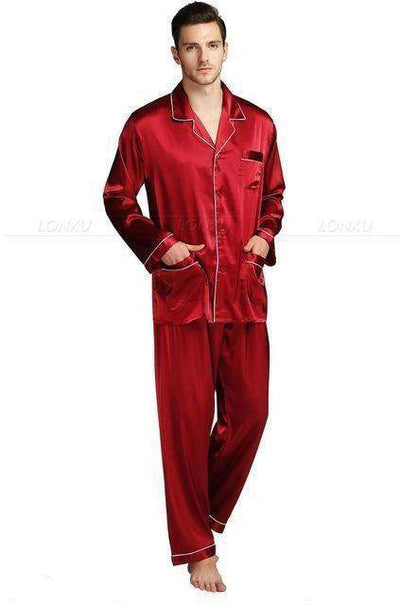 Mens Silk Satin Pajamas Wine / Xxl Pajama