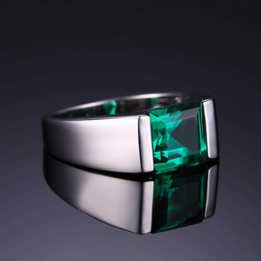 Mens Square 2.2Ct Created Emerald Engagement Ring