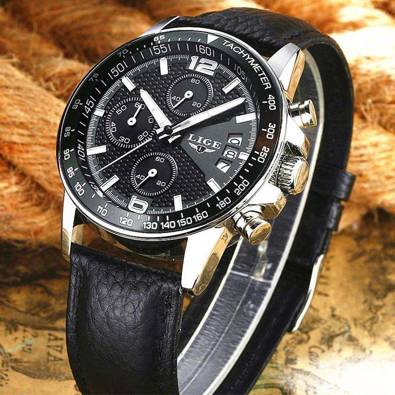Mens Watches Quartz Watch Men Real Three Dial Luminous Waterproof Leather White