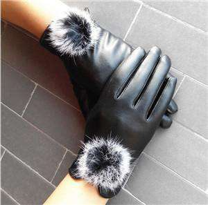 Mitten Women Pu Leather Rabbit Fur Gloves Black / Free Size Gloves