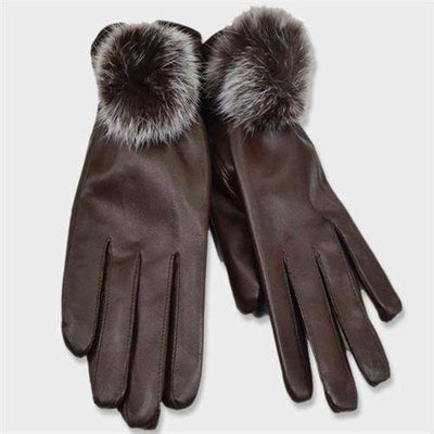 Mitten Women Pu Leather Rabbit Fur Gloves Coffee / Free Size Gloves