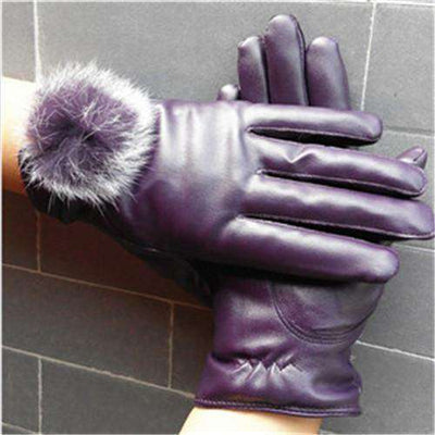 Mitten Women Pu Leather Rabbit Fur Gloves Purple / Free Size Gloves