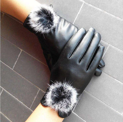 Mitten Women Pu Leather Rabbit Fur Gloves Gloves
