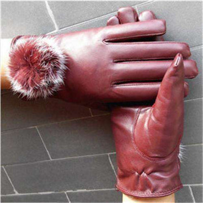 Mitten Women Pu Leather Rabbit Fur Gloves Wine Red / Free Size Gloves