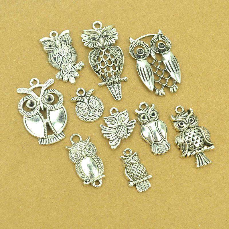 Mix Sale Vintage Metal Owl Tibetan Silver Diy Charms