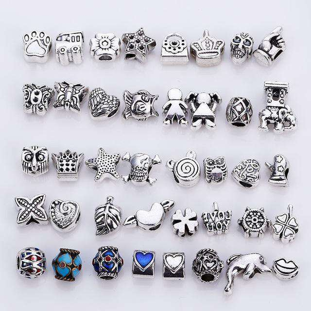 Mixed Beads Fit Pandora Charms Antique Silver Metal Zinc Alloy