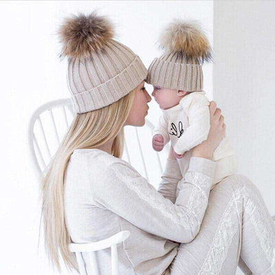 Mom And Baby Matching Knitted Hats Beanies