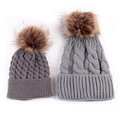 Mom And Baby Matching Knitted Hats Gray Beanies