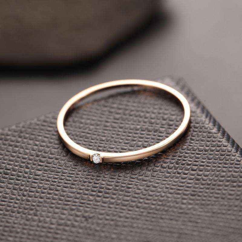 Natural Diamond Ring 18K Pure Gold Classic Girl Gift