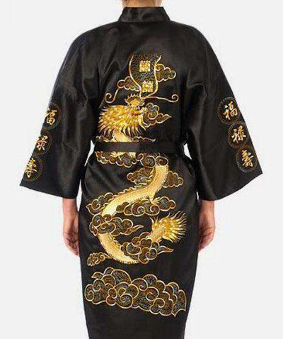 Navy Blue Chinese Mens Satin Silk Robe Black / S Sleep & Lounge