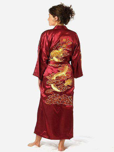 Navy Blue Chinese Mens Satin Silk Robe Burgundy / S Sleep & Lounge