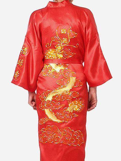 Navy Blue Chinese Mens Satin Silk Robe Red / S Sleep & Lounge