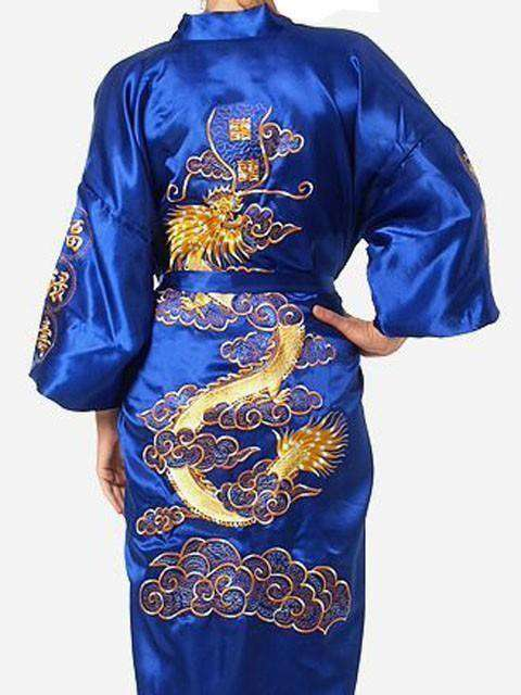Navy Blue Chinese Mens Satin Silk Robe Sleep & Lounge