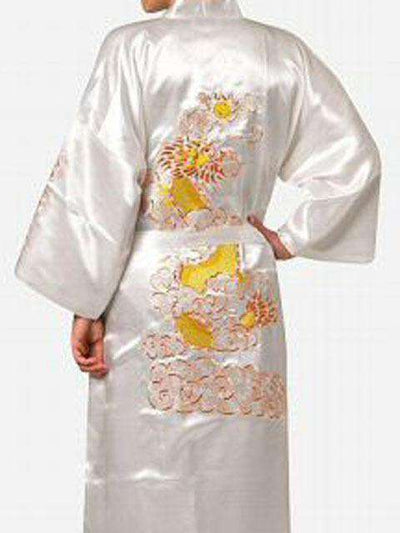 Navy Blue Chinese Mens Satin Silk Robe White / S Sleep & Lounge