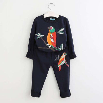 New Active Boys Clothing Sets Cartoon Print Sweatshirts+Pants Suit Navy Blue / 3T