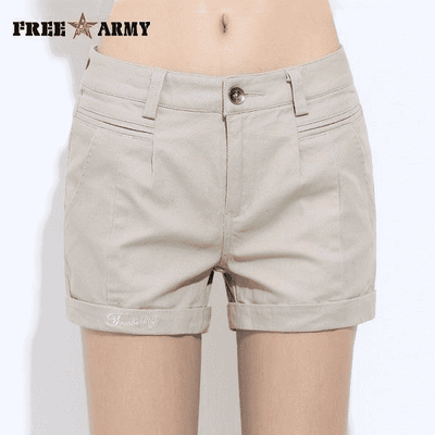 New Fashion Casual Cotton Shorts Beige / 26 W.shorts