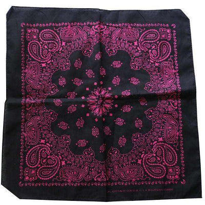New Hot Sales 100% Cotton Printed Bandanas Black Pink Accessories