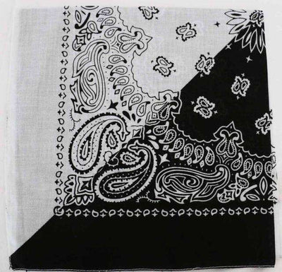New Hot Sales 100% Cotton Printed Bandanas Black White Half Accessories