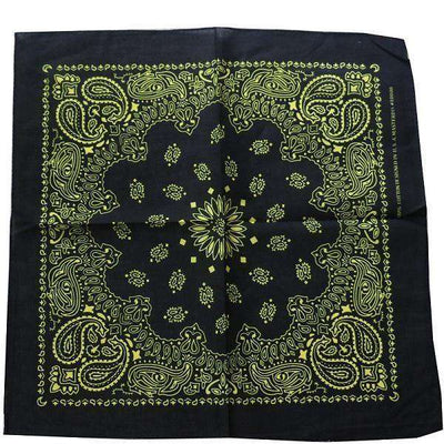 New Hot Sales 100% Cotton Printed Bandanas Black Yellow Accessories