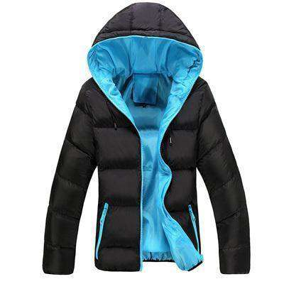 New Slim Hooded Thick Padded Jacket Black Blue / M M.parkas