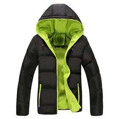 New Slim Hooded Thick Padded Jacket Black Green / M M.parkas