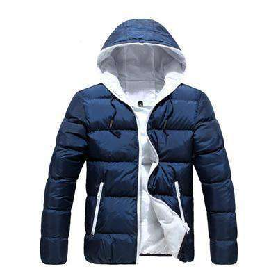 New Slim Hooded Thick Padded Jacket Blue White / M M.parkas
