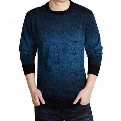 O-Neck Print Hang Pye Casual Wool Pullover Blue / S M.sweaters