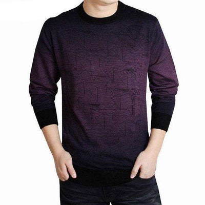 O-Neck Print Hang Pye Casual Wool Pullover Purple / S M.sweaters