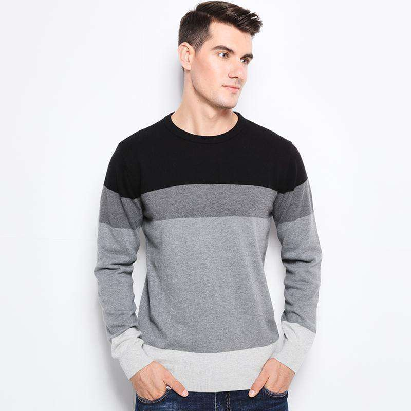 O-Neck Slim Fit Men Pullover 100% Cotton Navy / M M.sweaters