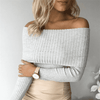 Off Shoulder Knitted Sweater W.sweaters