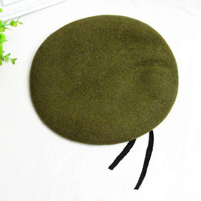 Outdoor Breathable Pure Wool Beret Hats Army Green Berets