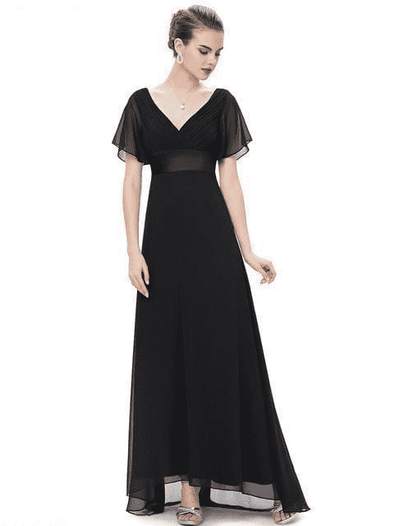 Padded Trailing Flutter Sleeve Long Dress Black / 4 / China Evening Dresses
