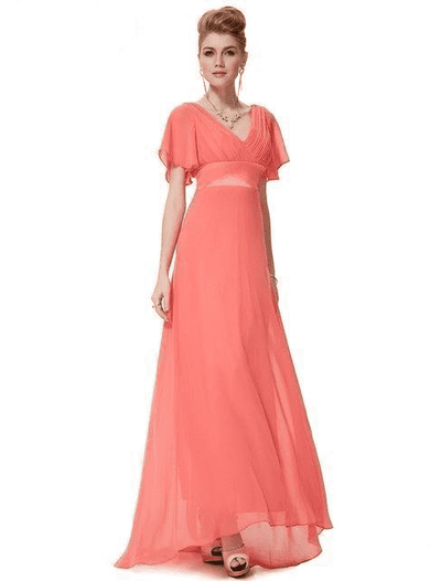 Padded Trailing Flutter Sleeve Long Dress Coral / 4 / China Evening Dresses