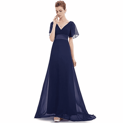 Padded Trailing Flutter Sleeve Long Dress Evening Dresses