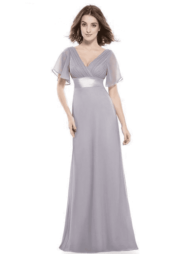 Padded Trailing Flutter Sleeve Long Dress Gray / 4 / China Evening Dresses
