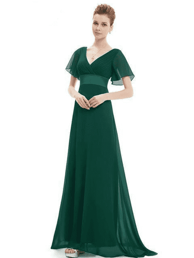 Padded Trailing Flutter Sleeve Long Dress Green / 4 / China Evening Dresses