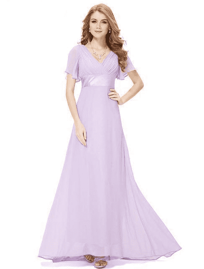 Padded Trailing Flutter Sleeve Long Dress Lavender / 4 / China Evening Dresses