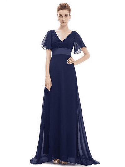 Padded Trailing Flutter Sleeve Long Dress Navy Blue / 4 / China Evening Dresses