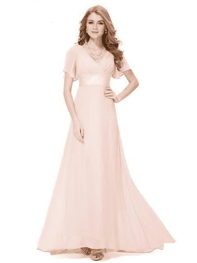 Padded Trailing Flutter Sleeve Long Dress Pink / 4 / China Evening Dresses