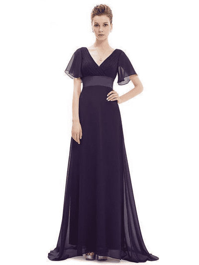 Padded Trailing Flutter Sleeve Long Dress Purple / 4 / China Evening Dresses