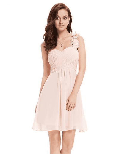 Pink Chiffon Short Elegant Pretty A Line One Shoulder Dress Pink / 12 Cocktail Dresses