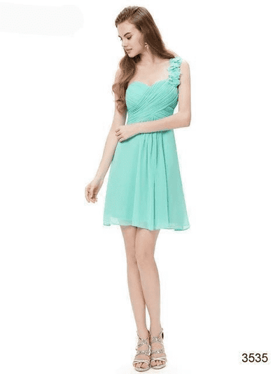 Pink Chiffon Short Elegant Pretty A Line One Shoulder Dress Aqua / 12 Cocktail Dresses