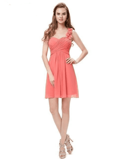 Pink Chiffon Short Elegant Pretty A Line One Shoulder Dress Coral / 12 Cocktail Dresses