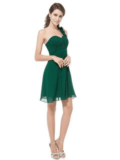 Pink Chiffon Short Elegant Pretty A Line One Shoulder Dress Dark Green / 12 Cocktail Dresses